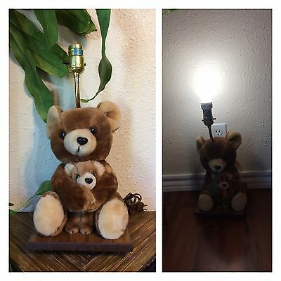 Vintage Plush Brown Teddy Bears Nursery Lamp Baby Kids Room