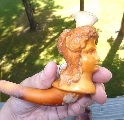 1870's Antique Meerschaum Cheroot Coiffed Hair Lady Baltic Amber Pipe & Case