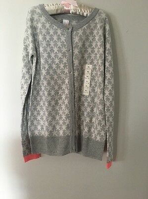 $15 Cat And Jack Silver And White Star Button Up Sweater Size XL (14/16)