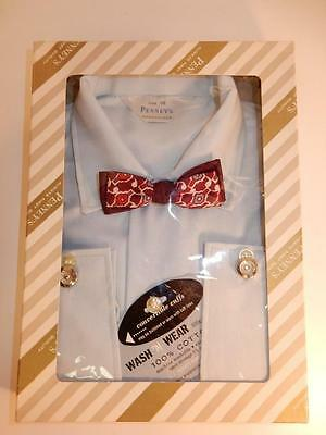 ANTIQUE VINTAGE PENNY'S BOY'S 1940s BLUE DRESS SHIRT SZ 10 BOW TIE DEADSTOCK NOS