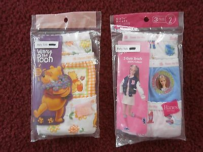 Lot Of 2 New Girls Barbie/pooh Hanes 3 Pk  Briefs Size 2 (6 Briefs Total)