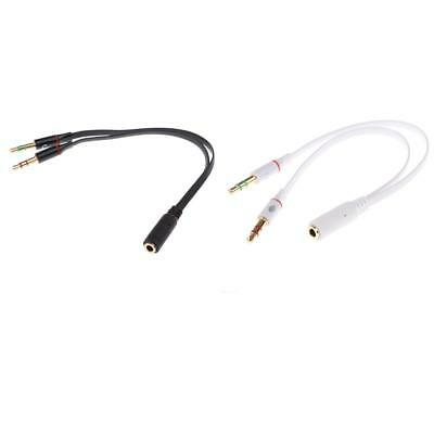 3.5mm 2 Female Plug to 1 Male Jack Audio Mic Headset Splitter Adapter Cable