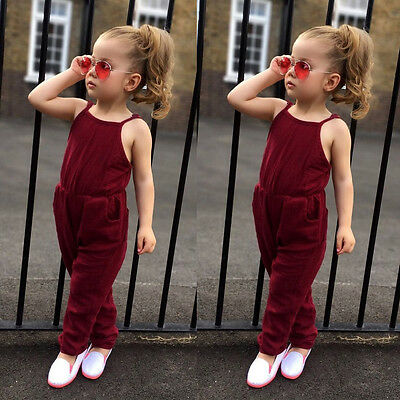 Toddler Infant Kids Baby Girl Strap Jumpsuit Romper Harem Pants Clothes Outfits