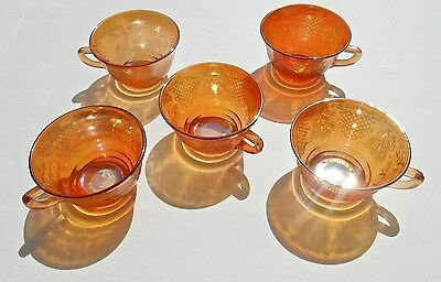 Vintage Federal Glass Normandie, 5 Iridescent Cups Mugs