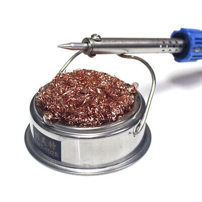 Solder Tip Cleaner Soldering Iron Steel Wire Mesh Cleaning + Holder Stand