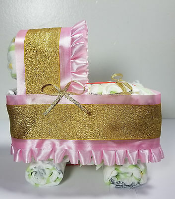 Diaper Cake Bassinet/Carriage - Pink and Gold Royal Theme Baby Shower/Sprinkle