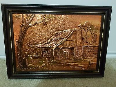 creative copper art framed picture Australian made