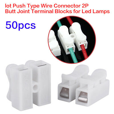 50pc 2P CH2 Quick Connector Cable Terminal Block LED Strip Light Wire Connect TP