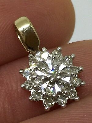 VINTAGE 9K 375 Solid Yellow Gold & Genuine Diamond Flower Cluster Pendant