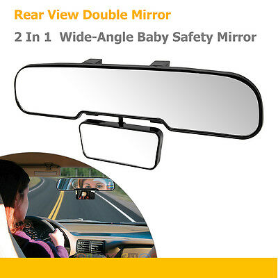 2 In 1 Car Van Wide-Angle Rear View Double Mirror Baby Child Learner Instructor