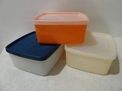 Vintage TUPPERWARE 3 x Square Sandwich Lunchbox Keepers Containers