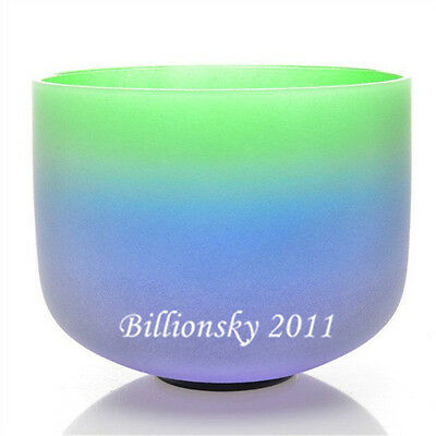 """432HZ F Heart Rainbow Colored Frosted Chakra Quartz Crystal Singing Bowl 8"""""""