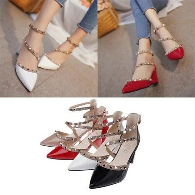 Women Stiletto Rivet Strap Pointed Studded Sandals Mid Heel shoes Party shoes