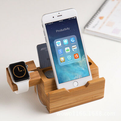 Phone Wooden Charging dock station charger for iWatch Phone 3 USB Ports US Plugs