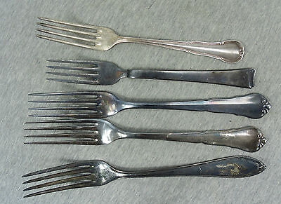 Lot Of 5 Vintage Antique Bsf 90 & Other Silver Plated Forks