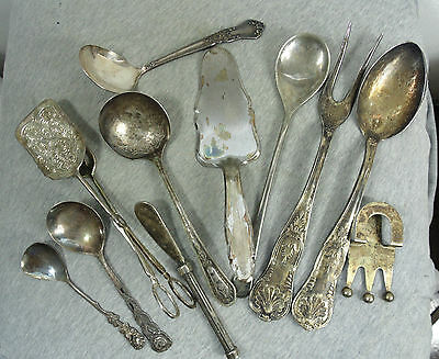 Lot Of 11 Vintage Antique Silver Plated Items Spoons,spatula,cooking Tongs,fork