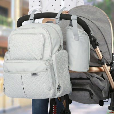 AU Grey Diaper Bag Nappy Mummy Backpack Baby Newborn Tote Maternity Stroller Bag