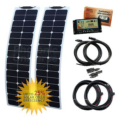 100W (50W+50W) 12V dual battery narrow flexible strong ETFE solar charging kit