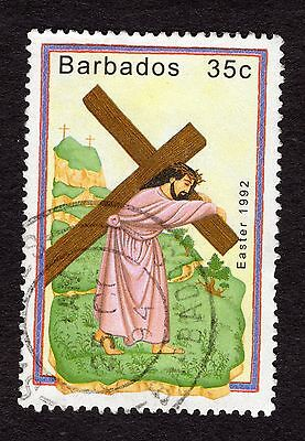 1992 Barbados 35c Easter carrying cross SG971 FINE USED R32475