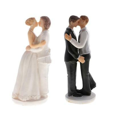 2pcs Romance Gay Lesbian Couple Wedding Cake Toppers Grooms Brides Figurines