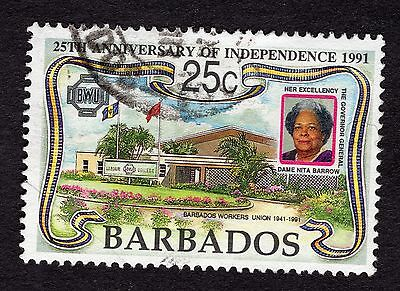 1991 Barbados 25c 25th Anniv Inependence Workers Union SG966 FINE USED R32468