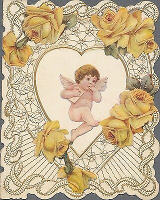 Victorian Die Cut Greeting Card Cupid Letter Yellow Roses 1909