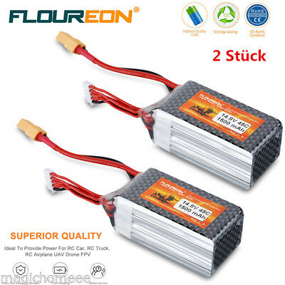 2x 4S 14.8V 1500mAh 45C Lipo Battery XT60 for RC Car Vehicle Airplane Helicopter