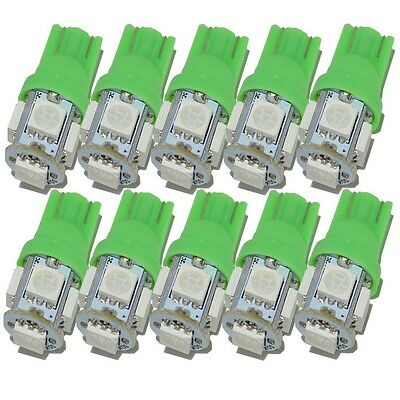 10X Green T10 5 SMD 194 168 W5W T10 LED 5050 Car Auto Side Wedge Light Lamp Bulb