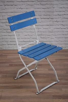 Vintage Industrial Folding Wood And Metal Garden Outdoor Cafe Bar Chairs