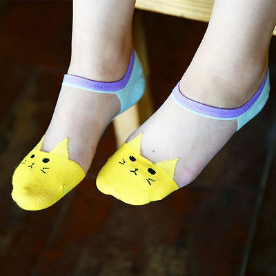 Women Summer Fashion Cat Silk Casual Ankle High Low Cut Invisible Yellow