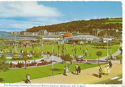 Scotland Postcard - Fountain & Putting Green, Rothesay Isle of Bute - Ref AB2628