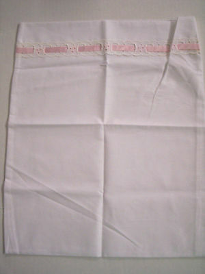 Pillowcase, Baby, White W/Pink Ribbon & Eyelet Lace, By Little Lords&Ladies,New