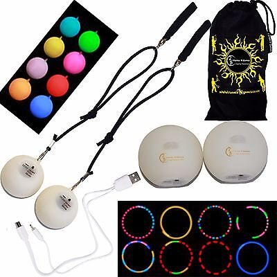 Multifunction LED Spinning POI Rechargeable With Micro USB Charging Cable + Bag