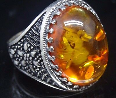 Turkish Handmade 925 Sterling Silver SPECIAL Amber Mens Ring Sz 9 us Fr. Resize