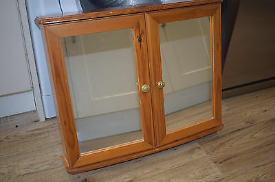 Pine Mirrored Bathroom Cabinet