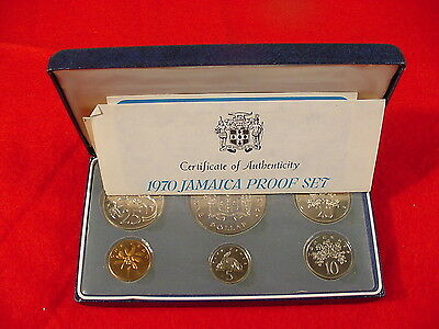 1970 Jamaica Proof Set In Original Presentation Case~Franklin Mint With COA
