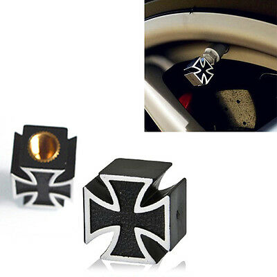 4pcs Black Iron Cross Car Auto Wheel Tire Pressure Air Stem Valve Caps