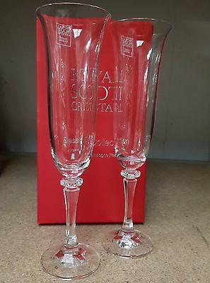 ROYAL SCOTT  CRYSTAL - 2 CHAMPAGNE FLUTES - NEW Engraved