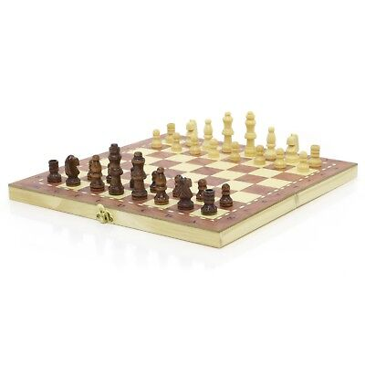 Brand New ♞ Hand Crafted Wooden Chess & Draughts Set 24cm x 24cm ♚ Travel Board