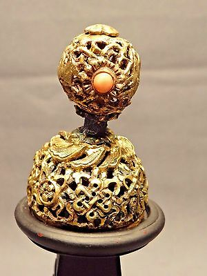 19th C. Qing Ching Dyn. Chinese Gilded 7th Rank Hat Finial with Coral