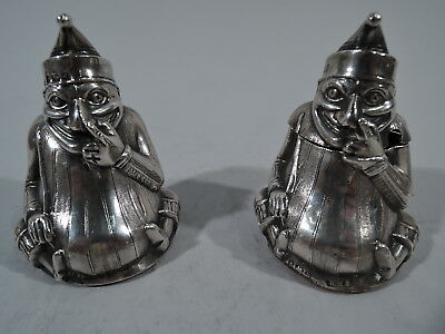 Edwardian Salt Shaker & Mustard Pot - Punch Pair - English Sterling Silver