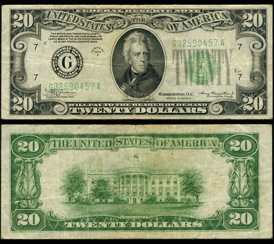 FR. 2055 G $20 1934-A Federal Reserve Note Mule Chicago VF