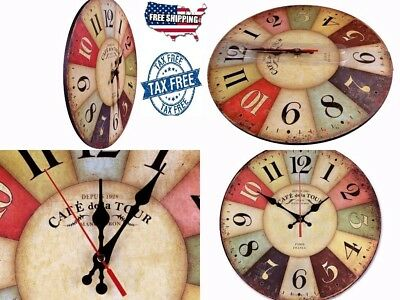 Wood Wall Clock Vintage Colorful France Paris French Country Tuscan Retro Style