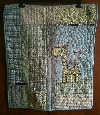 Beautiful MAMAS & PAPAS 'Made With Love' Baby Boys Blue Quilt Coverlet (Giraffe)