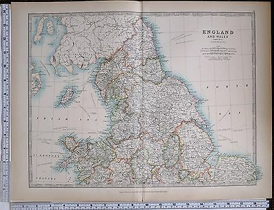 1903 Large Map England & Wales Northern York Lincoln Chester Salop Denbigh