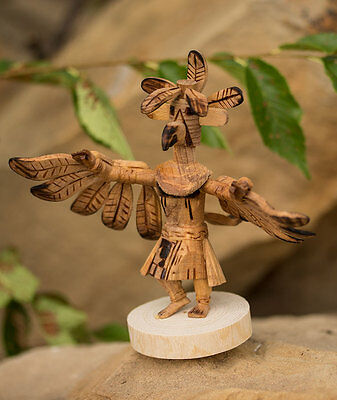 """Navajo Native American Indian Hand Carved Eagle Kachina Doll Figure Feathers 5"""""""