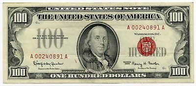 1966 $100 United States Note - Red Seal Currency - Hundred Dollars - AL898