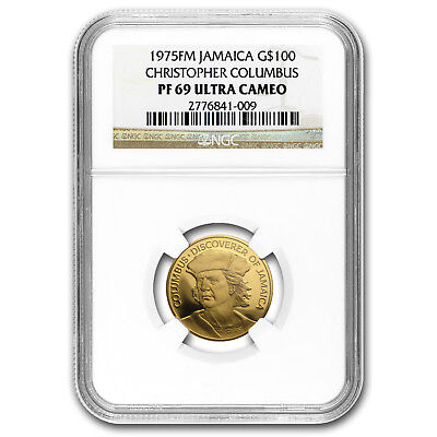 1975 Jamaica Proof Gold 100 Dollars Columbus PF-69 NGC - SKU#153396