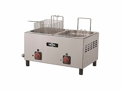 New Commercial Countertop Propane Gas Fryer, 2 Baskets, Metal Supreme F2BG