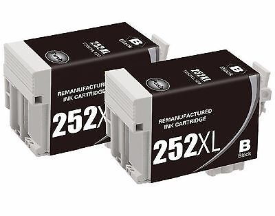2-Pk/Pack Reman 252 252XL T252XL120 Black Ink For Epson WF-3620 3640 7610 7620